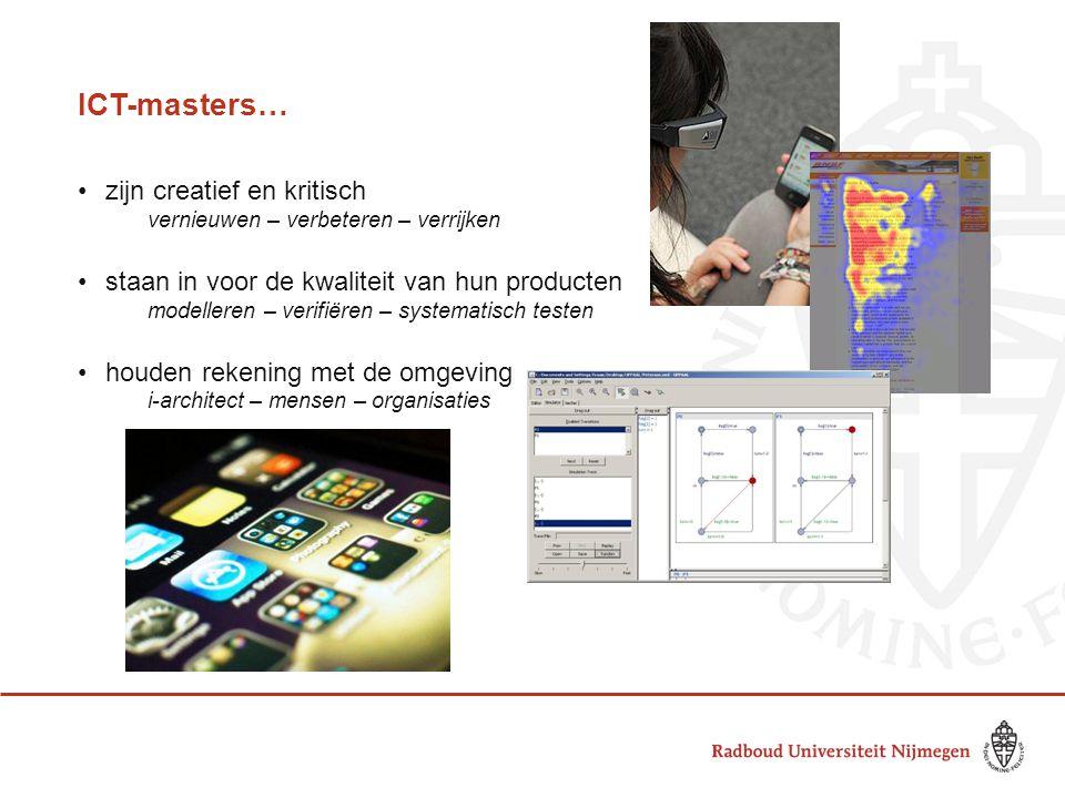 ICT-masters… zijn creatief en kritisch vernieuwen – verbeteren – verrijken staan in voor de kwaliteit van hun producten modelleren – verifiëren – syst