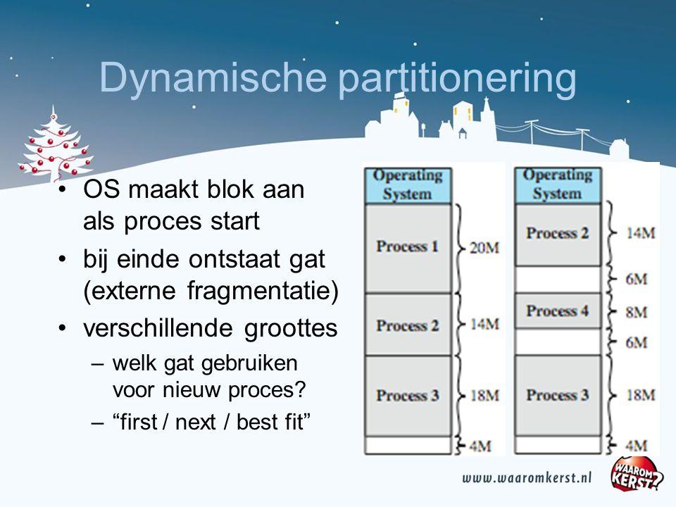 Dynamische partitionering OS maakt blok aan als proces start bij einde ontstaat gat (externe fragmentatie) verschillende groottes –welk gat gebruiken voor nieuw proces.