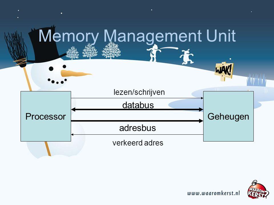 Memory Management Unit ProcessorGeheugen adresbus databus lezen/schrijven verkeerd adres