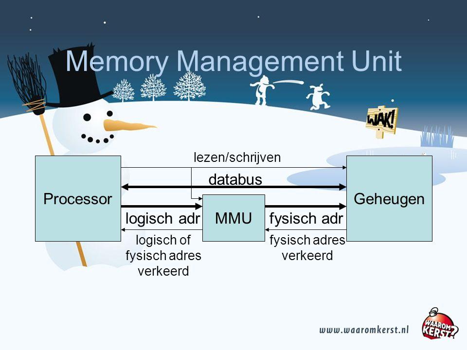 Memory Management Unit ProcessorGeheugen logisch adr databus lezen/schrijven fysisch adres verkeerd MMU logisch of fysisch adres verkeerd fysisch adr