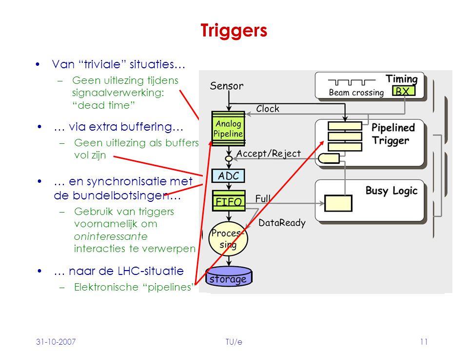 """31-10-2007TU/e11 Triggers Van """"triviale"""" situaties… –Geen uitlezing tijdens signaalverwerking: """"dead time"""" … via extra buffering… –Geen uitlezing als"""