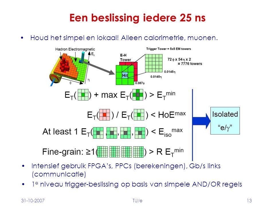 31-10-2007TU/e13 Een beslissing iedere 25 ns Houd het simpel en lokaal! Alleen calorimetrie, muonen. Intensief gebruik FPGA's, PPCs (berekeningen), Gb