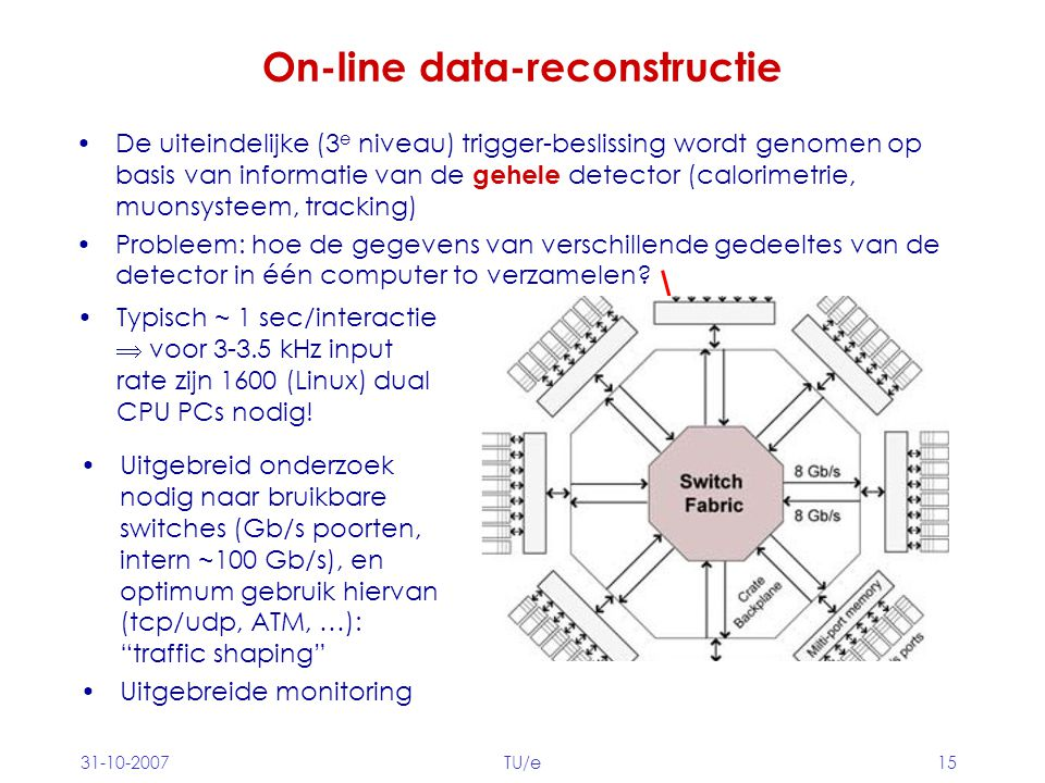 31-10-2007TU/e15 On-line data-reconstructie De uiteindelijke (3 e niveau) trigger-beslissing wordt genomen op basis van informatie van de gehele detec