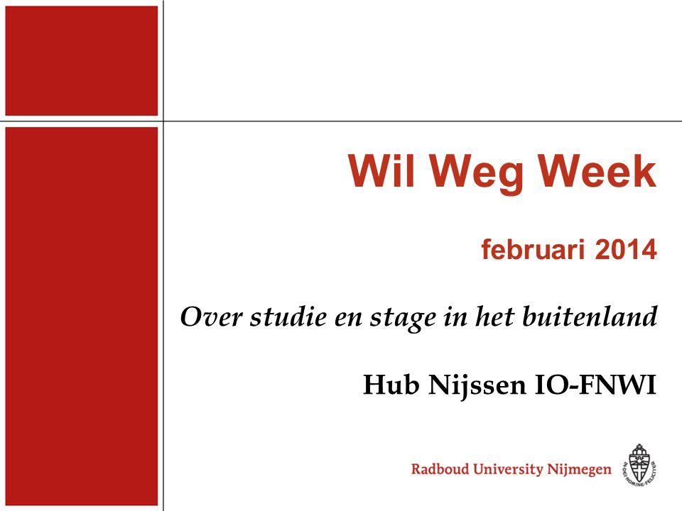 Wil Weg Week februari 2014 Over studie en stage in het buitenland Hub Nijssen IO-FNWI