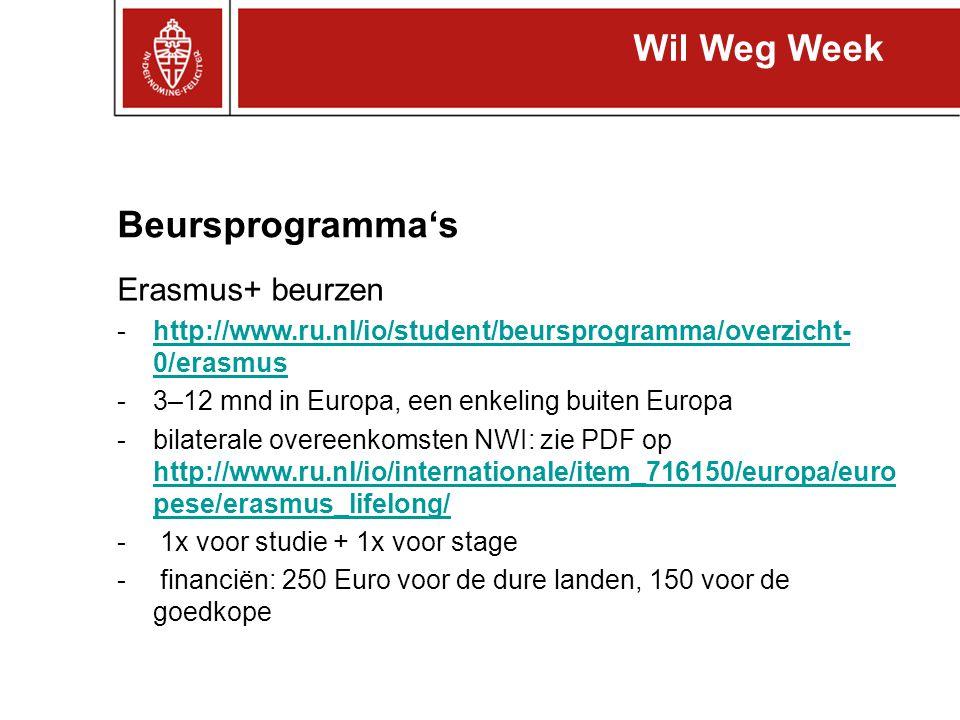 Beursprogramma's Erasmus+ beurzen -http://www.ru.nl/io/student/beursprogramma/overzicht- 0/erasmushttp://www.ru.nl/io/student/beursprogramma/overzicht
