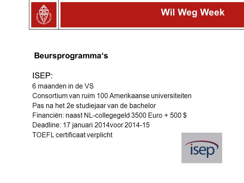 ISEP: 6 maanden in de VS Consortium van ruim 100 Amerikaanse universiteiten Pas na het 2e studiejaar van de bachelor Financiën: naast NL-collegegeld 3