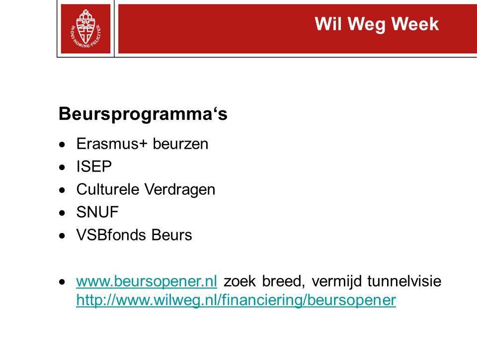 Beursprogramma's Erasmus+ beurzen -http://www.ru.nl/io/student/beursprogramma/overzicht- 0/erasmushttp://www.ru.nl/io/student/beursprogramma/overzicht- 0/erasmus -3–12 mnd in Europa, een enkeling buiten Europa -bilaterale overeenkomsten NWI: zie PDF op http://www.ru.nl/io/internationale/item_716150/europa/euro pese/erasmus_lifelong/ http://www.ru.nl/io/internationale/item_716150/europa/euro pese/erasmus_lifelong/ - 1x voor studie + 1x voor stage - financiën: 250 Euro voor de dure landen, 150 voor de goedkope Wil Weg Week