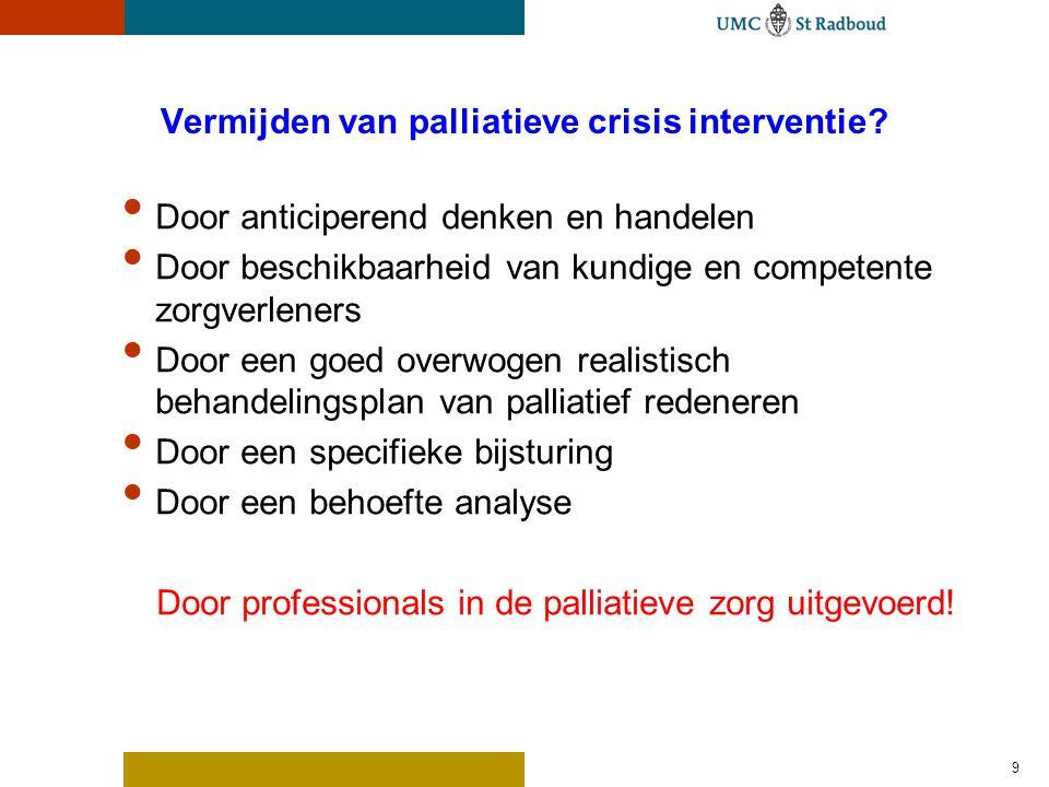 Vermijden van palliatieve crisis interventie? Door anticiperend denken en handelen Door beschikbaarheid van kundige en competente zorgverleners Door e