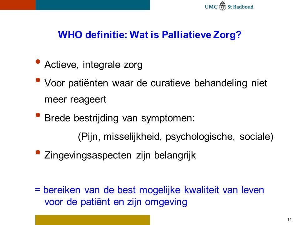 14 WHO definitie: Wat is Palliatieve Zorg? Actieve, integrale zorg Voor patiënten waar de curatieve behandeling niet meer reageert Brede bestrijding v