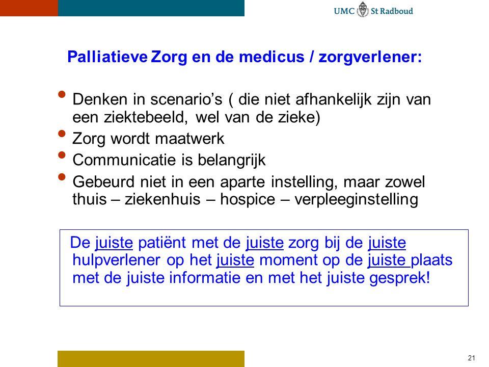 21 Palliatieve Zorg en de medicus / zorgverlener: Denken in scenario's ( die niet afhankelijk zijn van een ziektebeeld, wel van de zieke) Zorg wordt m