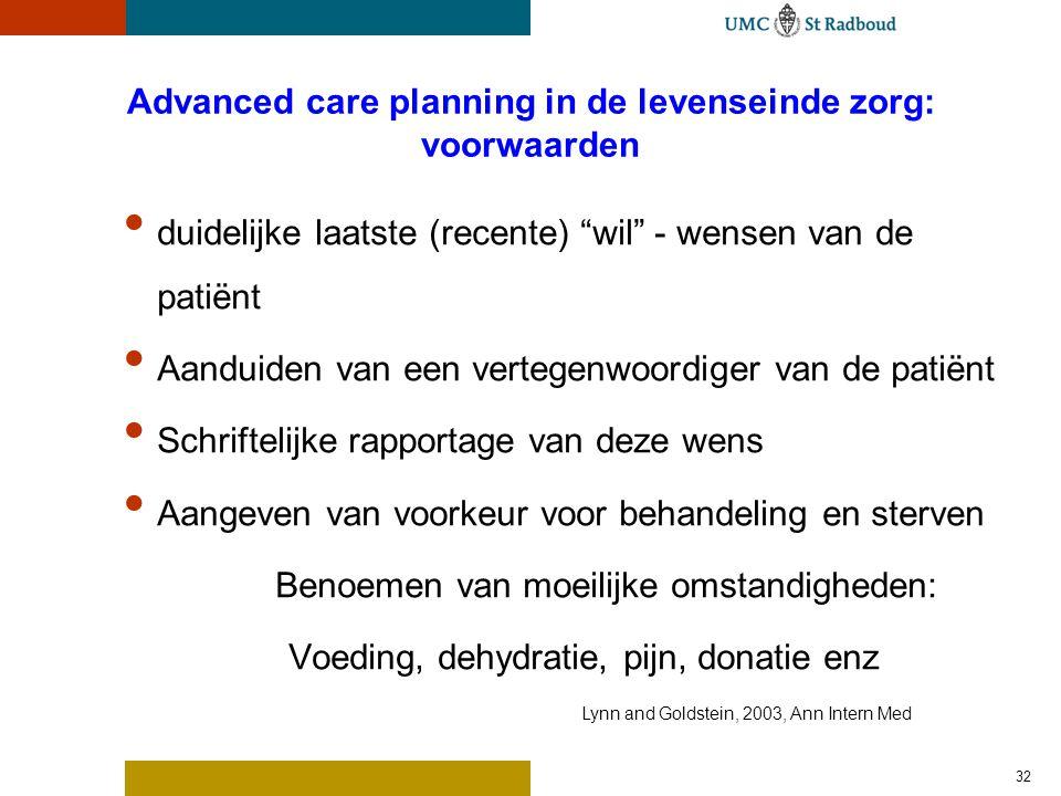 """Advanced care planning in de levenseinde zorg: voorwaarden duidelijke laatste (recente) """"wil"""" - wensen van de patiënt Aanduiden van een vertegenwoordi"""