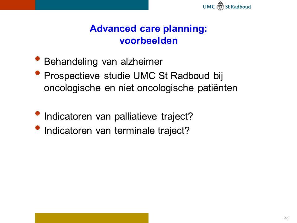 Advanced care planning: voorbeelden Behandeling van alzheimer Prospectieve studie UMC St Radboud bij oncologische en niet oncologische patiënten Indic