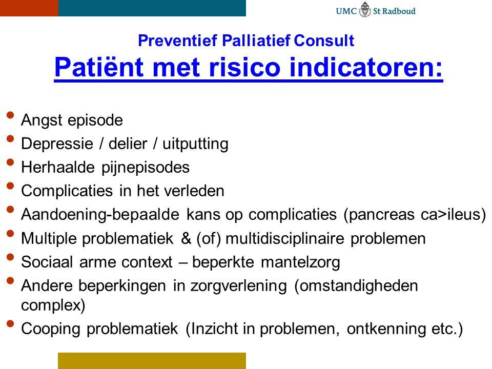 Preventief Palliatief Consult Patiënt met risico indicatoren: Angst episode Depressie / delier / uitputting Herhaalde pijnepisodes Complicaties in het