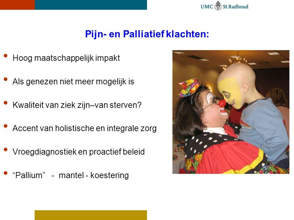 Pijn- en Palliatief klachten: Hoog maatschappelijk impakt Als genezen niet meer mogelijk is Kwaliteit van ziek zijn–van sterven? Accent van holistisch