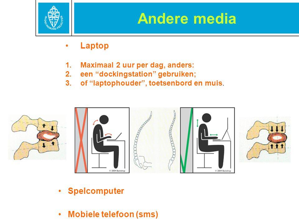 """Andere media Spelcomputer Mobiele telefoon (sms) Laptop 1.Maximaal 2 uur per dag, anders: 2.een """"dockingstation"""" gebruiken; 3.of """"laptophouder"""", toets"""