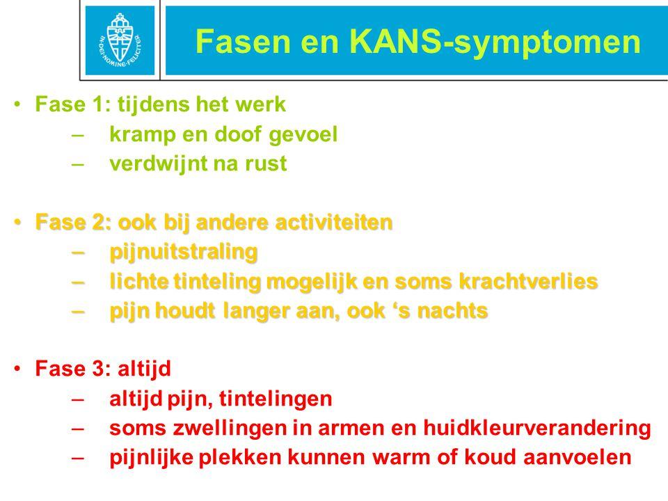 Fasen en KANS-symptomen Fase 1: tijdens het werk –kramp en doof gevoel –verdwijnt na rust Fase 2: ook bij andere activiteitenFase 2: ook bij andere ac