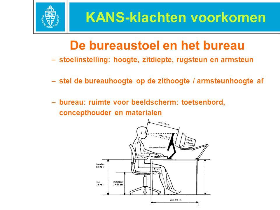 De bureaustoel en het bureau –stoelinstelling: hoogte, zitdiepte, rugsteun en armsteun –stel de bureauhoogte op de zithoogte / armsteunhoogte af –bure