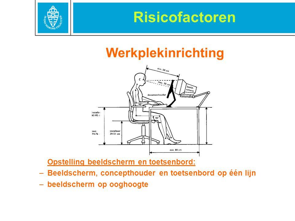 Werkplekinrichting Opstelling beeldscherm en toetsenbord: –Beeldscherm, concepthouder en toetsenbord op één lijn –beeldscherm op ooghoogte Risicofacto