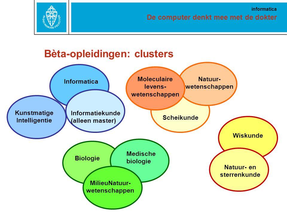 De computer denkt mee met de dokter informatica Bèta-opleidingen: clusters Informatiekunde (alleen master) Informatica Moleculaire levens- wetenschappen Natuur- wetenschappen Scheikunde Biologie MilieuNatuur- wetenschappen Medische biologie Natuur- en sterrenkunde Wiskunde Kunstmatige Intelligentie