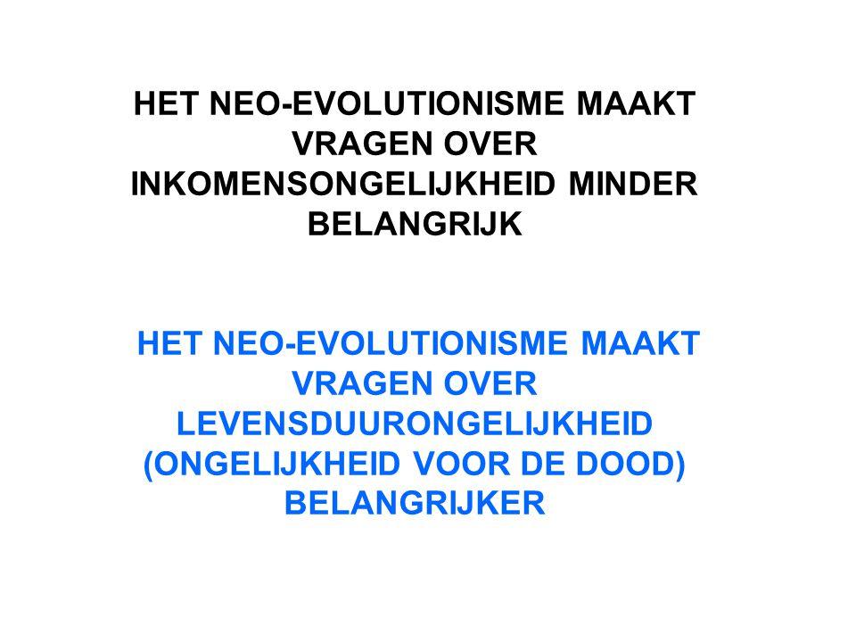 HET NEO-EVOLUTIONISME MAAKT VRAGEN OVER INKOMENSONGELIJKHEID MINDER BELANGRIJK HET NEO-EVOLUTIONISME MAAKT VRAGEN OVER LEVENSDUURONGELIJKHEID (ONGELIJ