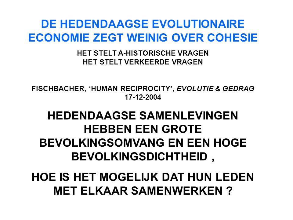 DE HEDENDAAGSE EVOLUTIONAIRE ECONOMIE ZEGT WEINIG OVER COHESIE HET STELT A-HISTORISCHE VRAGEN HET STELT VERKEERDE VRAGEN FISCHBACHER, 'HUMAN RECIPROCI