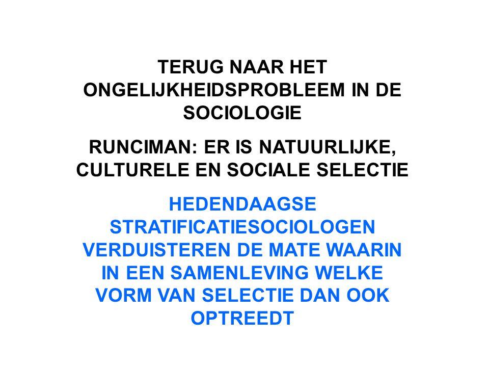 TERUG NAAR HET ONGELIJKHEIDSPROBLEEM IN DE SOCIOLOGIE RUNCIMAN: ER IS NATUURLIJKE, CULTURELE EN SOCIALE SELECTIE HEDENDAAGSE STRATIFICATIESOCIOLOGEN V