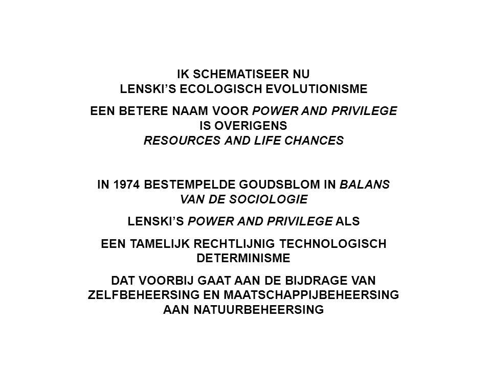 IK SCHEMATISEER NU LENSKI'S ECOLOGISCH EVOLUTIONISME EEN BETERE NAAM VOOR POWER AND PRIVILEGE IS OVERIGENS RESOURCES AND LIFE CHANCES IN 1974 BESTEMPE