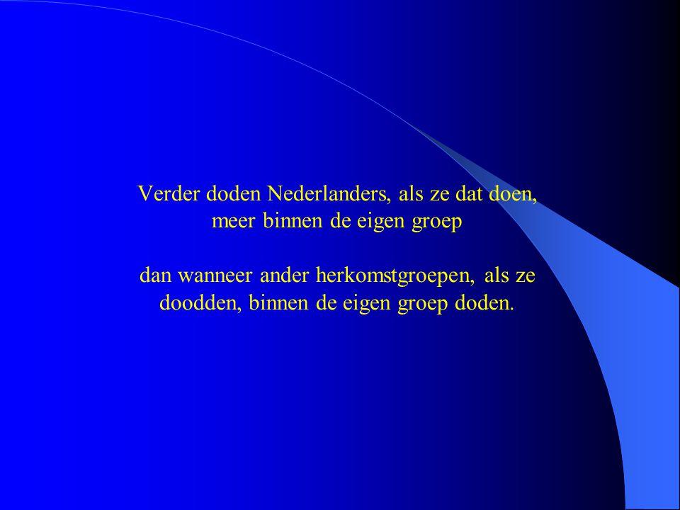 Verder doden Nederlanders, als ze dat doen, meer binnen de eigen groep dan wanneer ander herkomstgroepen, als ze doodden, binnen de eigen groep doden.