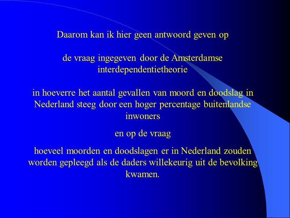 Daarom kan ik hier geen antwoord geven op de vraag ingegeven door de Amsterdamse interdependentietheorie in hoeverre het aantal gevallen van moord en doodslag in Nederland steeg door een hoger percentage buitenlandse inwoners en op de vraag hoeveel moorden en doodslagen er in Nederland zouden worden gepleegd als de daders willekeurig uit de bevolking kwamen.