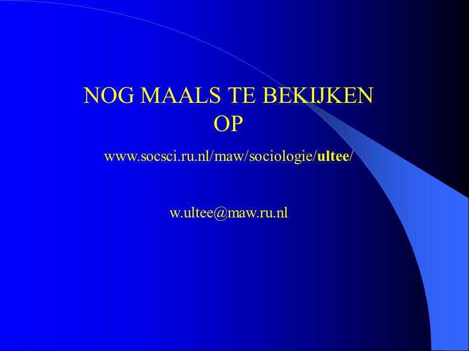 NOG MAALS TE BEKIJKEN OP www.socsci.ru.nl/maw/sociologie/ultee/ w.ultee@maw.ru.nl