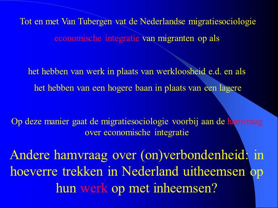 Tot en met Van Tubergen vat de Nederlandse migratiesociologie economische integratie van migranten op als het hebben van werk in plaats van werklooshe