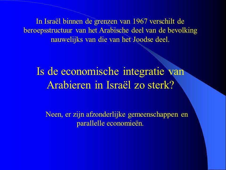 In Israël binnen de grenzen van 1967 verschilt de beroepsstructuur van het Arabische deel van de bevolking nauwelijks van die van het Joodse deel.
