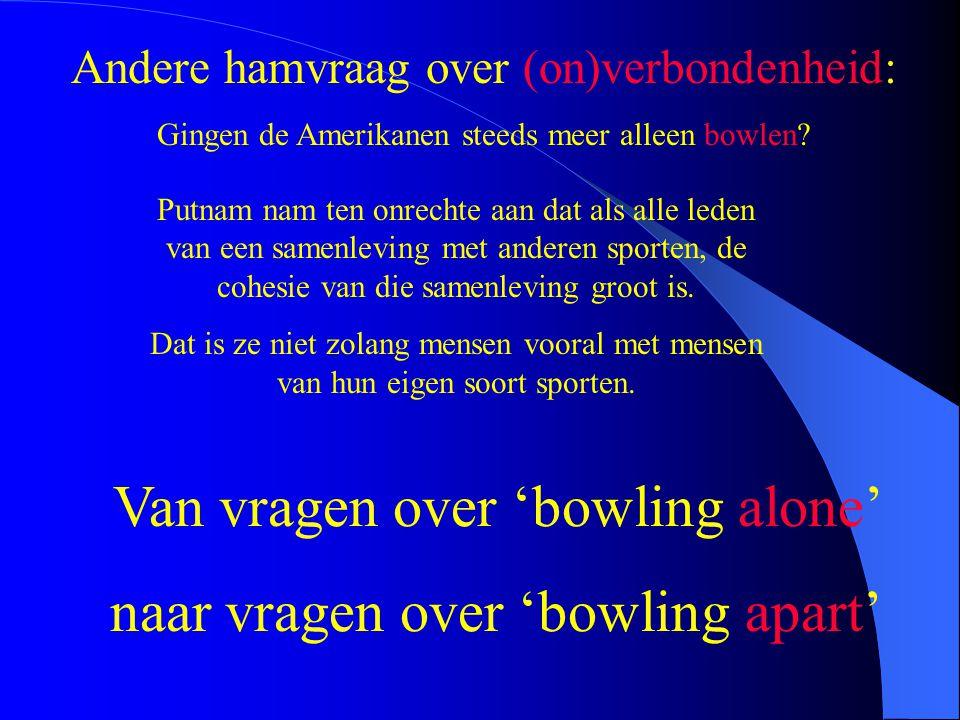 Andere hamvraag over (on)verbondenheid: Gingen de Amerikanen steeds meer alleen bowlen? Putnam nam ten onrechte aan dat als alle leden van een samenle