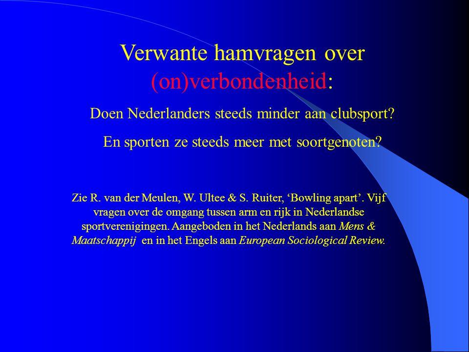 Verwante hamvragen over (on)verbondenheid: Doen Nederlanders steeds minder aan clubsport? En sporten ze steeds meer met soortgenoten? Zie R. van der M