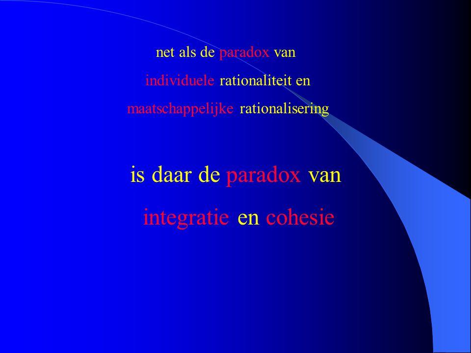 is daar de paradox van integratie en cohesie net als de paradox van individuele rationaliteit en maatschappelijke rationalisering