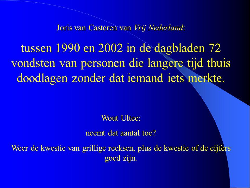 Joris van Casteren van Vrij Nederland: tussen 1990 en 2002 in de dagbladen 72 vondsten van personen die langere tijd thuis doodlagen zonder dat iemand iets merkte.