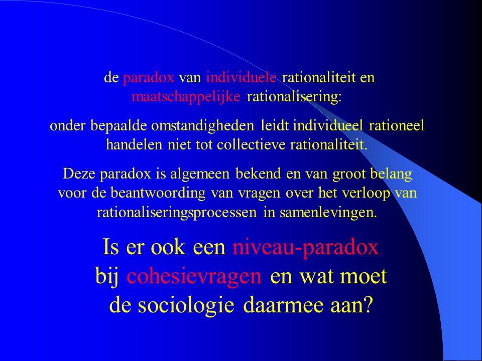 de paradox van individuele rationaliteit en maatschappelijke rationalisering: onder bepaalde omstandigheden leidt individueel rationeel handelen niet tot collectieve rationaliteit.