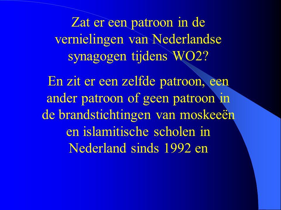 En zit er een zelfde patroon, een ander patroon of geen patroon in de brandstichtingen van moskeeën en islamitische scholen in Nederland sinds 1992 en