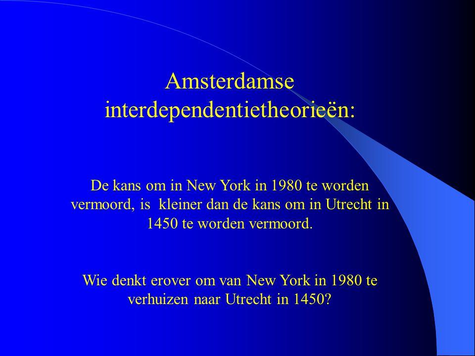 Amsterdamse interdependentietheorieën: De kans om in New York in 1980 te worden vermoord, is kleiner dan de kans om in Utrecht in 1450 te worden vermoord.