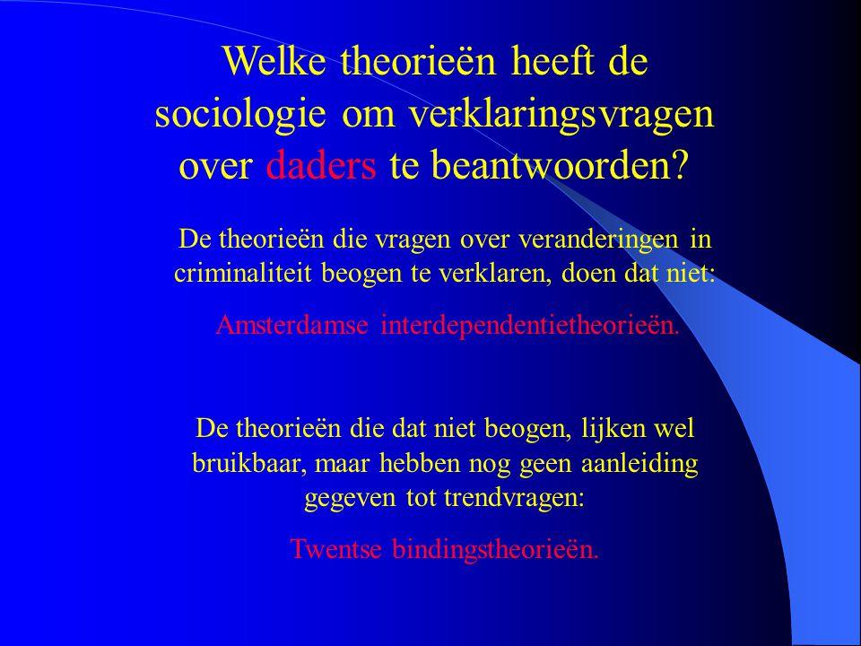 Welke theorieën heeft de sociologie om verklaringsvragen over daders te beantwoorden? De theorieën die vragen over veranderingen in criminaliteit beog