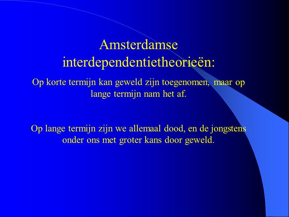 Amsterdamse interdependentietheorieën: Op korte termijn kan geweld zijn toegenomen, maar op lange termijn nam het af. Op lange termijn zijn we allemaa