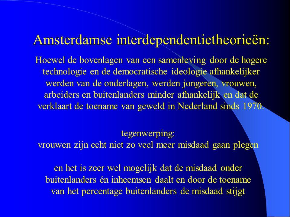 Amsterdamse interdependentietheorieën: Hoewel de bovenlagen van een samenleving door de hogere technologie en de democratische ideologie afhankelijker