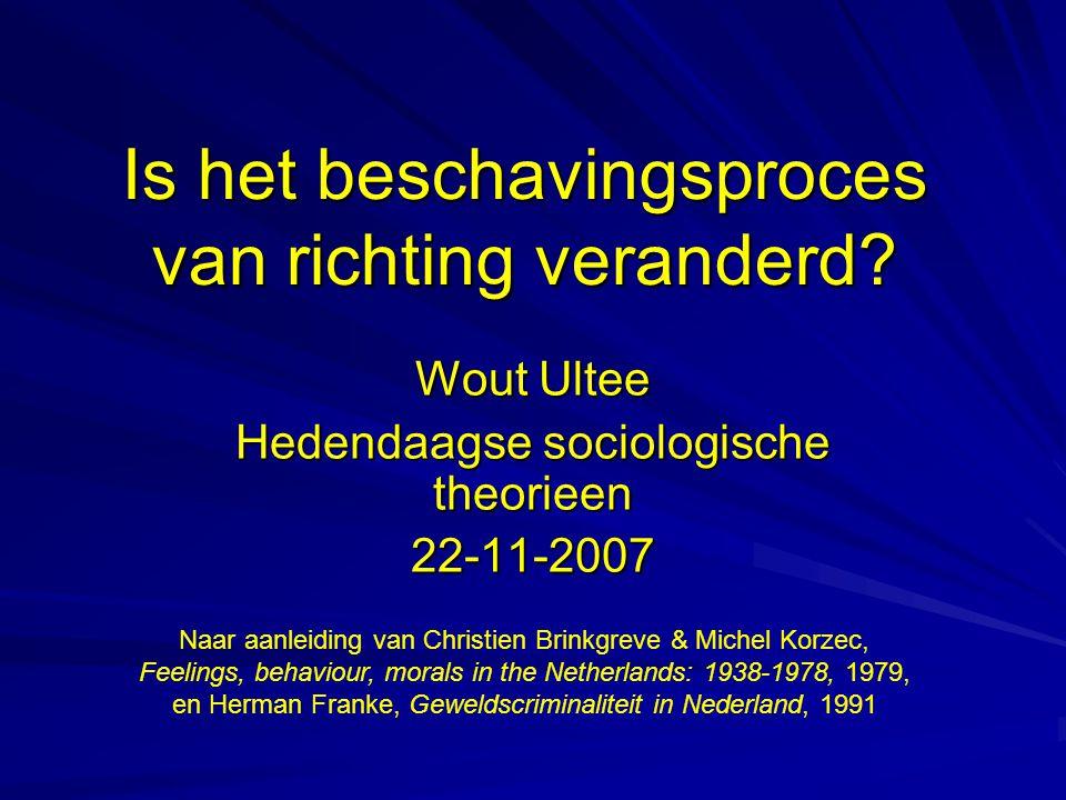Is het beschavingsproces van richting veranderd? Wout Ultee Hedendaagse sociologische theorieen 22-11-2007 Naar aanleiding van Christien Brinkgreve &