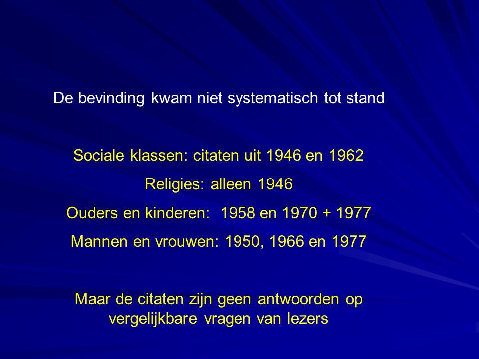 De bevinding kwam niet systematisch tot stand Sociale klassen: citaten uit 1946 en 1962 Religies: alleen 1946 Ouders en kinderen: 1958 en 1970 + 1977 Mannen en vrouwen: 1950, 1966 en 1977 Maar de citaten zijn geen antwoorden op vergelijkbare vragen van lezers