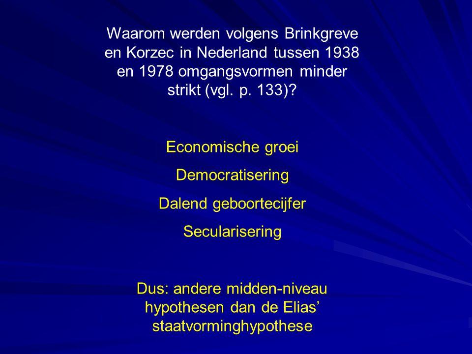 Waarom werden volgens Brinkgreve en Korzec in Nederland tussen 1938 en 1978 omgangsvormen minder strikt (vgl. p. 133)? Economische groei Democratiseri