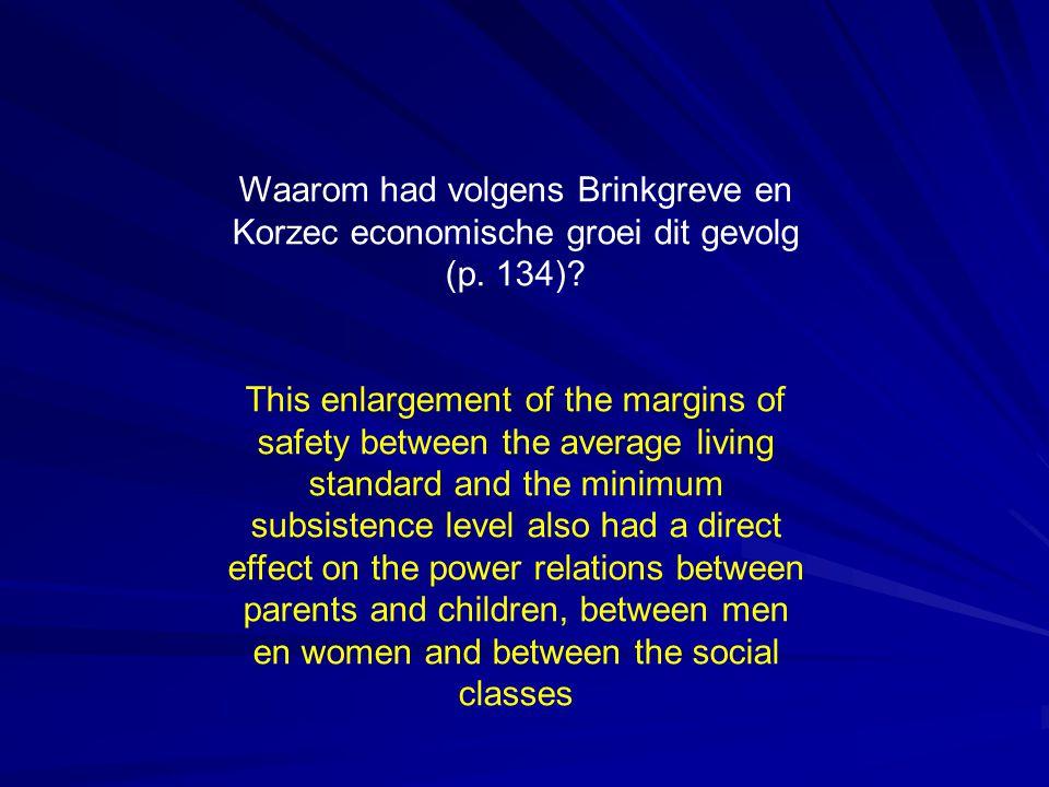 Waarom had volgens Brinkgreve en Korzec economische groei dit gevolg (p. 134)? This enlargement of the margins of safety between the average living st
