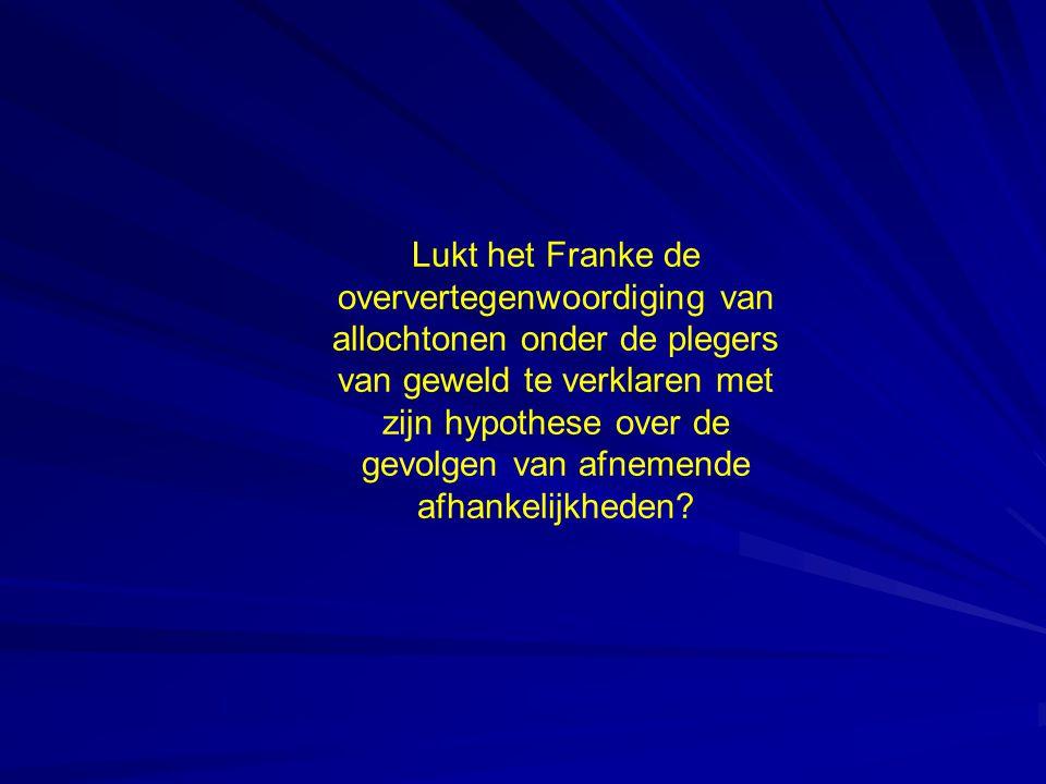 Lukt het Franke de oververtegenwoordiging van allochtonen onder de plegers van geweld te verklaren met zijn hypothese over de gevolgen van afnemende afhankelijkheden