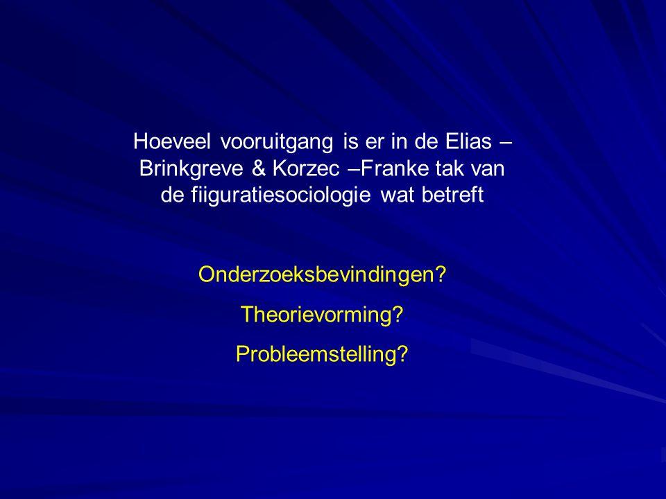 Hoeveel vooruitgang is er in de Elias – Brinkgreve & Korzec –Franke tak van de fiiguratiesociologie wat betreft Onderzoeksbevindingen? Theorievorming?