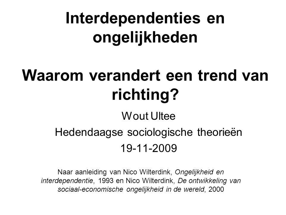 Interdependenties en ongelijkheden Waarom verandert een trend van richting? Wout Ultee Hedendaagse sociologische theorieën 19-11-2009 Naar aanleiding