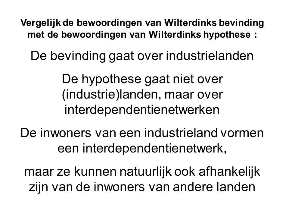 Vergelijk de bewoordingen van Wilterdinks bevinding met de bewoordingen van Wilterdinks hypothese : De bevinding gaat over industrielanden De hypothes